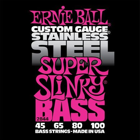 Ernie Ball P02844 Super Slinky Stainless Steel Bass 45-100