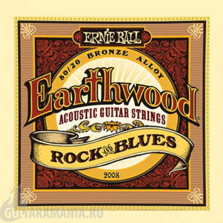 Ernie Ball P02008 EARTHWOOD ROCK & BLUES ACOUSTIC 80/20 BRONZE W/ PLAIN G 10-52