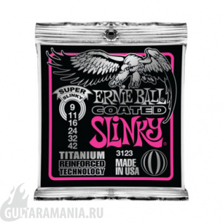 Ernie Ball P03123 COATED ELECTRIC TITANIUM RPS SUPER SLINKY 9-42
