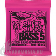Ernie Ball P02824 SUPER SLINKY 5-STRING BASS NICKEL WOUND 40-125